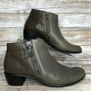 Ecco Womens 7-7.5M Gray Leather Ankle Boot